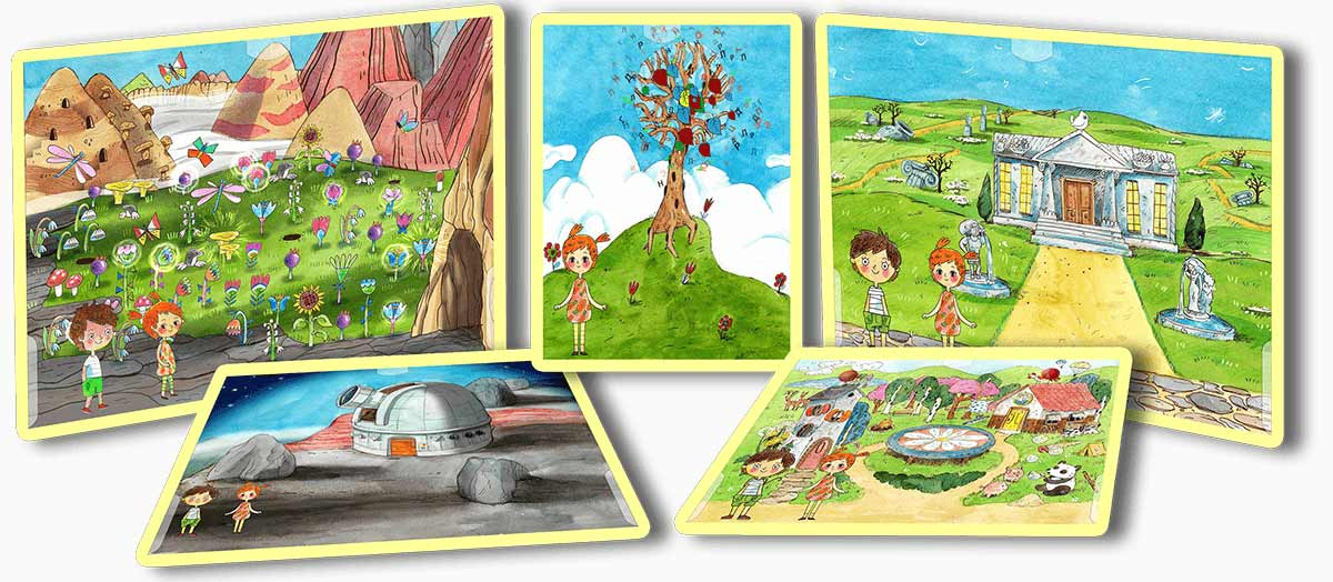 игровые сцены приключений в городе букв, складов, слов, и вершины чтения