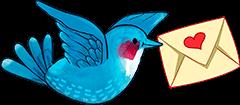 Птичка, несущая письмо в клюве.