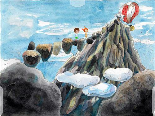 Написав нужное слово по буквам, герои идут на вершину Чтения по летающим камням