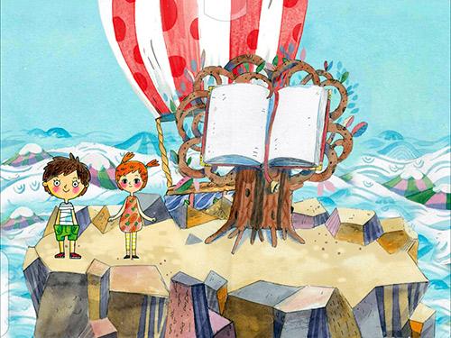 на Вершине Чтения, раскрытая книга, герои научились читать, готовы к новому увлекательному путешествию